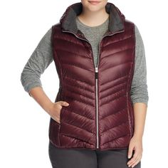 Marc New York Plus Ruby Hooded Puffer Vest ($78) ❤ liked on Polyvore featuring plus size women's fashion, plus size clothing, plus size outerwear, plus size vests, merlot, plus size quilted vest, puffer vest, red puffer vest, plus size red vest and red vest