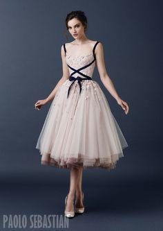 PSAW1501 Layered tulle ballerina skirt with 3D floral embellishment and navy blue velvet ribbon