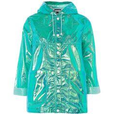 Topshop Metallic Raincoat Mac ($51) ❤ liked on Polyvore featuring outerwear, coats, jackets, topshop, turquoise, metallic coat, rain coat, hooded rain coat, mac coat and topshop coats