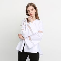 MY MAYAASOS Cute Boyfriend Streetwear Shirt Crew Neck Flare Long Sleeve Shirt Solid White Sheer Swallow-tailed Blouse