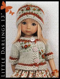 "OOAK Orange Roses Outfit for Little Darlings Effner 13"" by Maggie & Kate Create"