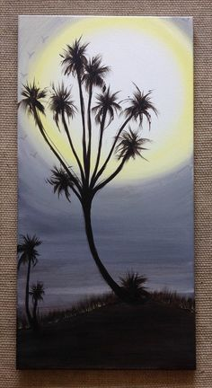 Original 'Never Ever Land' A unique & deformed palm like tree reaches for the full moon surrounded by birds. By Art Room 278. 15 x 30 $180