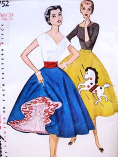 1950s Lovely Circular Skirt with Can Can Petticoat Slip,Felt Applique Transfer Pattern Simplicity 4752 Vintage Sewing Pattern Waist 24 UNCUT Very Ditta Von Tease