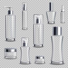 Buy Cosmetics Package Realistic Transparent Set by macrovector on GraphicRiver. Cosmetics skincare empty glass package samples assortment realistic set wth spray bottles on transparent background v. Skincare Packaging, Perfume Packaging, Bottle Packaging, Cosmetic Packaging, Beauty Packaging, Packaging Design, Cosmetic Bottles, Plastic Design, Glass Containers