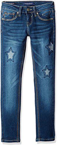 Vigoss Girls' Girls' Star Gazer Skinny, Prussian Blue, 10. Skinny denim. Star patch details.
