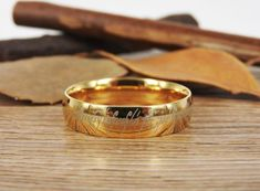 Handmade Gold Filled Dome Custom Your words in Elvish Tengwar, Wedding Bands, Couple Ring, Titanium Anniversary Ring Matching Wedding Bands, Wedding Matches, Wedding Ring Bands, Titanium Rings, Couple Rings, Anniversary Rings, Jewelry Stores, Rings For Men, Pure Products