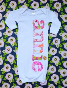 Sweet Sprouts infant girls personalized name monogram gown, coming home outfit.