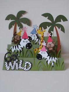 Create a Critter. The Queen's Card Castle: Jungle Birthday Card For Cricut Cardz Challenge Projects For Kids, Diy For Kids, Crafts For Kids, Kids Cards, Baby Cards, Side Step Card, Kids Birthday Cards, Diy Birthday, Birthday Ideas