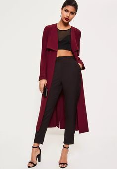 Buckle up in this beaut burg' maxi duster coat with buckle detailing.