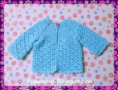 Ravelry: Nessa's Sweater pattern by Kimberly Saunders (idea for friend) Crochet Baby Sweaters, Crochet Baby Cardigan, Crochet Baby Clothes, Crochet Jacket, Baby Knitting, Preemie Crochet, Crochet Girls, Crochet Bebe, Crochet For Kids