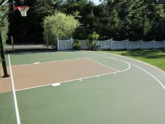 Basketball Court in Forest Green and Beige.