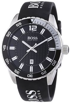 Hugo Boss Chronograph features a stainless steel case with black rubber strap, diver's bezel, checkered patterned blue dial with luminous silver-tone hands and Hugo Boss Watches, Gents Watches, Cool Watches, Watches For Men, Wrist Watches, Hugo Boss Man, Women Brands, Black Rubber, Stainless Steel Case