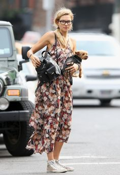 Floral dress and studded Converse sneakers. I will be living in this style come summer :)