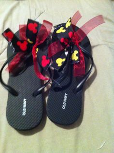 Disney Mickey Mouse themed flip flops size 7 and by DISNEYLOVIN, $7.99