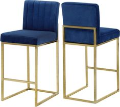 Meridian Furniture Giselle Navy Navyvelvet fabric / gold base bar height stool Outfit your home bar or kitchen 26 Bar Stools, Counter Height Stools, Kitchen Stools, Bar Chairs, Room Chairs, High Chairs, Office Chairs, Dining Chairs, Metal Bar Stools