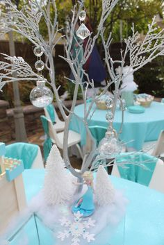 Talia's Frozen Winter Wonderland | Frozen themed centerpiece idea, Frozen kids party table decorations, Kids party rental in Orange Country, Ca.