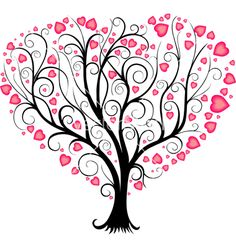 Tree Vector Images (over Free Vector Images, Vector Free, Valentines Watercolor, Heart Tree, Pink Leaves, Christmas Svg, Tree Art, Love Heart, Tree Decorations
