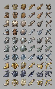 Game Concept Art, Weapon Concept Art, Game Ui Design, Icon Design, Arte 8 Bits, Pixel Characters, 2d Game Art, 8bit Art, Armadura Medieval