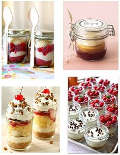 Dessert In A Jar! So Many Choices!  I think I'll make some of these for Christmas Eve dinner.