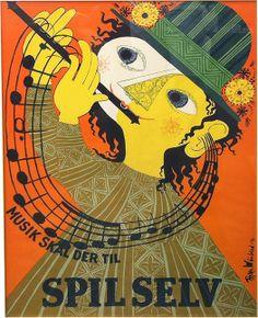 Spil Selv Danish music festival poster by Bjørn Wiinblad, 1946