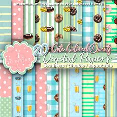 Cute Colored Donuts, digital papers, seamless dohnut donut background fabrics invitation web blog design baby light color juice, coffee dots