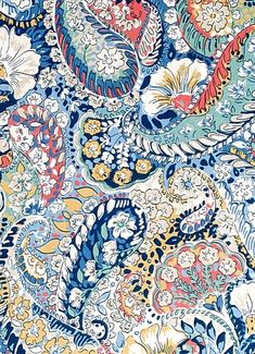 High end designer Custom fabric shower Robert Allen Paisley shower curtain 72 x 84 108 long shower c Paisley Fabric, Paisley Pattern, Floral Fabric, Blue Fabric, Mandala, Robert Allen Fabric, Indian Prints, Print Wallpaper, Iphone Wallpaper