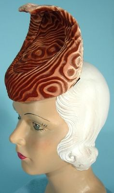 late 1930's Stiff Patterned Velvet Tall Hat Owned and Worn by ANITA LOOS!