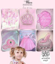 Baby Wall Art, Nursery Wall Art, Girl Nursery, Nursery Decor, Princess Wall Art, Princess Nursery, Cinderella Coach, Cinderella Shoes, Wall Art Prints