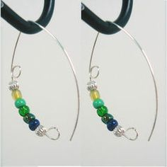 "Green Purple Earrings 1 3/4"" inch Sterling Silver Plated Beads 604"