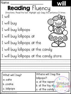 Free Kindergarten Reading Fluency and Comprehension Set 1 Reading Comprehension Worksheets, Reading Fluency, Reading Intervention, Reading Passages, Reading Skills, Kindergarten Reading Activities, Teaching Reading, In Kindergarten, Free Reading