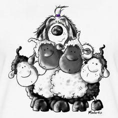 Bearded Collie und Schafe | Modartis Tier Shirt Shop für Zweibeiner