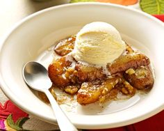 The flavors of caramel, rum and walnut naturally complement fresh bananas in this classic dessert made easy! — Crystal Bruns, Iliff, Colorado Click here to see more recipe from Taste of Home ...