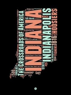 Indiana Word Cloud 1 by NAXART Studio - Buy Indiana Word Cloud 1 canvas reproduction directly from NAXART. Explore our complete collection of canvas giclée prints and paper prints Canvas Size, Canvas Art, Canvas Prints, Art Prints, Big Canvas, Word Cloud Art, Word Clouds, Word Map, Typography Art