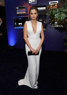 Selena Gomez White Evening Dress 2015 InStyle and Warner Bros. Golden Globe Awards Post-Party