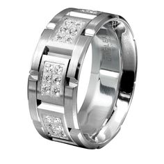 men's wedding bands | Men's White Gold Diamond Wedding Band