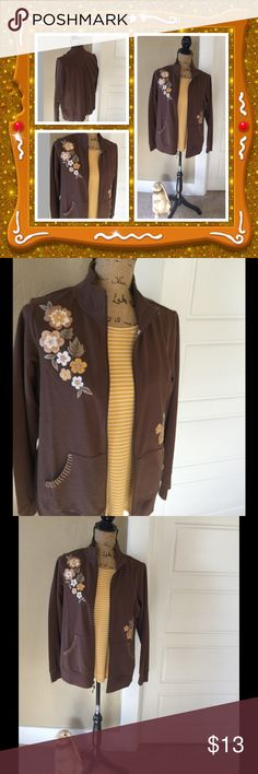 Light Weight Floral Jacket 🌻🌻 Brown light weight jacket with floral design on front, solid back, zip front, front pockets with embroidery on pockets, 95% Cotton, 5% Spandex Sport Savvy  Jackets & Coats