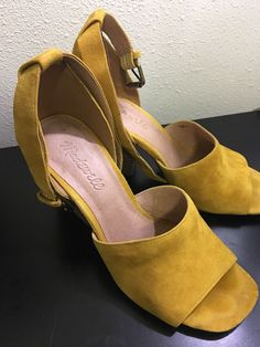 6191f6d3a3b6e Madewell Mustard Yellow Suede Chunky Heel Sandals 6 1 2  fashion  clothing