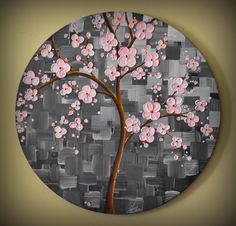ORIGINAL Art Modern Textured Pink Cherry Blossom Tree