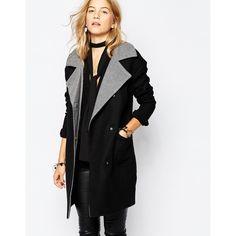 Vero Moda Contrast Collar Coat featuring polyvore, fashion, clothing, outerwear, coats, black, vero moda coat, black coat and vero moda