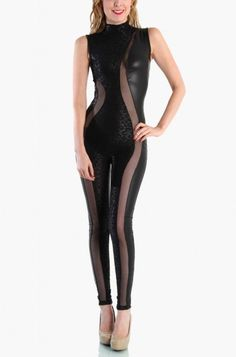 LoveMelrose.com From Harry & Molly | Leopard Mesh Cut Out Faux Leather Jumpsuit - Black