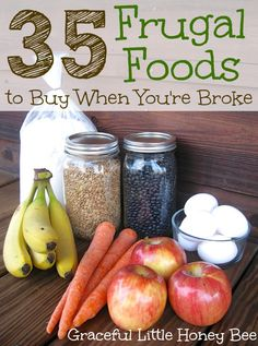 Here are 35 of the most frugal and relatively healthy foods that money can buy. Regularly menu planning around this list will help you to save money and stay within your budget. 35 Frugal Recipes to Make When You're Broke Frugal Meals, Cheap Meals, Budget Meals, Frugal Tips, Frugal Recipes, Freezer Meals, Inexpensive Meals, Budget Cooking, Cheap Food
