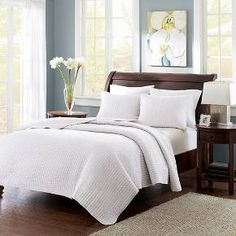 Mitchell Solid Quilted Coverlet Set (Twin/Twin Extra Long) White - 2pc : Target