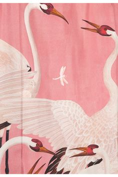 GUCCI ~ ~CLOSEUP OF  Printed silk-twill dress featuring heron birds and dragonflies. Available from Net-a-Porter dot com.