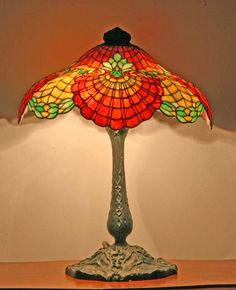 Gorham Leaded Glass Table Lamp – ca. 1903.....The base is bronze and has a great verdigris patina. I've been able to date it to approximately 1903 or 1904 due to the version of Hubbell sockets on the lamp.