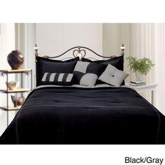 Microfiber Reversible 4-piece Comforter Set | Overstock.com Shopping - Great Deals on Comforter Sets