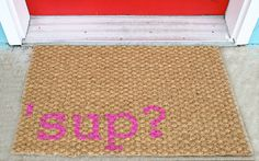 Witty Woven Hand Painted Welcome Mat  'sup? by mybeautifulmessshop, $30.00
