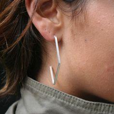 Modern & Polished Sterling Silver Handmade Earrings ~ Hilt by AuraVedaSF on Etsy