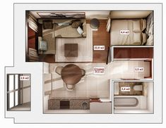 Apartment Interior Design, Interior Design Tips, Interior Decorating, Apartment Guide, Apartment Plans, Small Apartment Layout, 2 Bedroom Floor Plans, House Drawing, Small House Plans