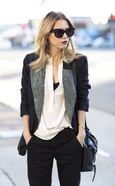 tuxedo jacket, shades and blush shirt