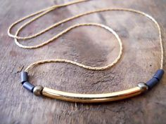 Modern Gold filled necklace - Tube and beads